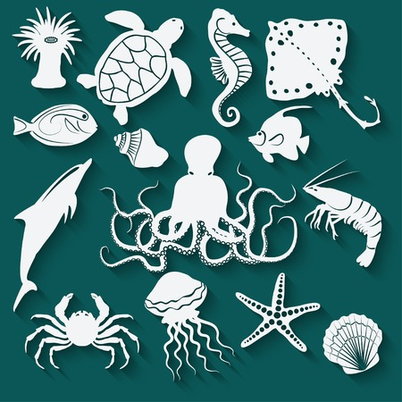 stingrays: sea animals and fish icons - vector illustration.  Illustration