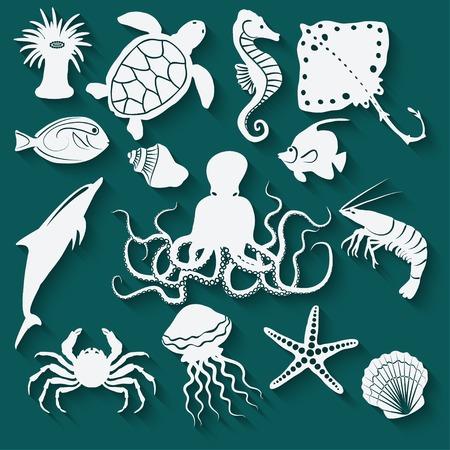 zeedieren en vissen iconen - vector illustratie.