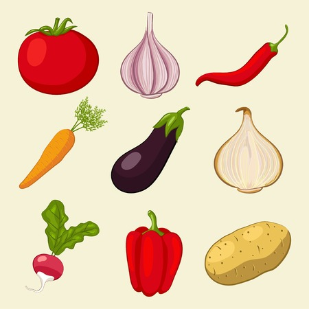 vegetables icons set - vector illustration.  Vector