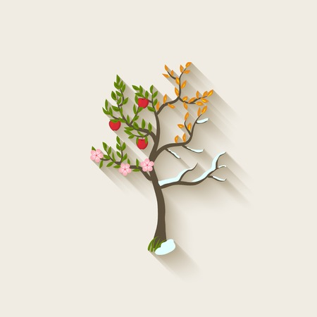 4 leaf: four seasons trees - vector illustration.