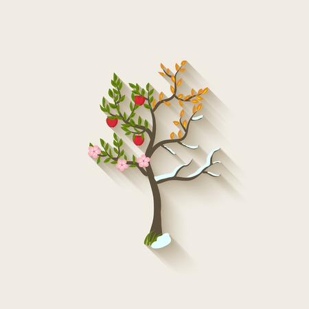 four leaf: four seasons trees - vector illustration.