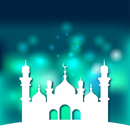 hari raya: Mosque Islamic background - vector illustration. eps 10