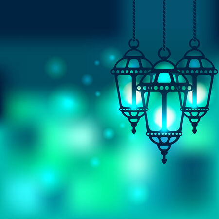 green lantern: Ramadan lantern shiny background - vector illustration. eps 10