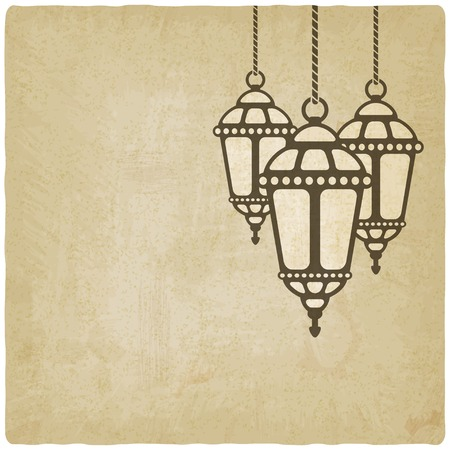 Ramadan lantern old background - vector illustration. eps 10