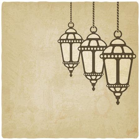 adha: Ramadan lantern old background - vector illustration. eps 10