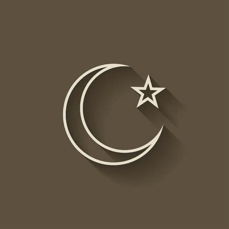 islam moon: crescent moon and star - vector illustration. eps 8 Illustration