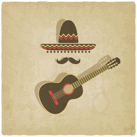 Mexican sombrero and guitar old background - vector illustration.  Vector