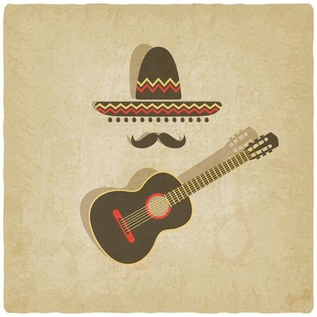 mexican sombrero: Sombrero messicano e chitarra vecchio sfondo - illustrazione vettoriale.