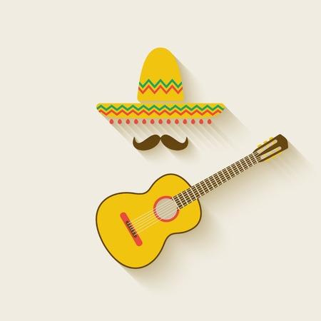 Mexican sombrero and guitar - vector illustration.  Vector