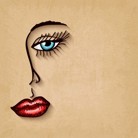 woman face blue eyes red lips on old background - vector illustration.  Vector