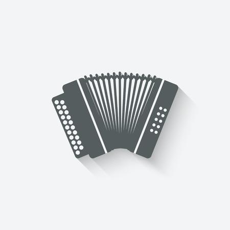 accordion music design element - vector illustration.  Çizim