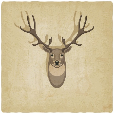 moose antlers: deer old background - vector illustration.