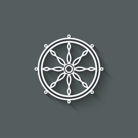 samsara: dharma wheel design element - vector illustration.  Illustration