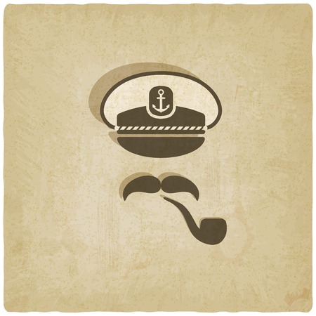 skipper: Captain mustache pipe on old background