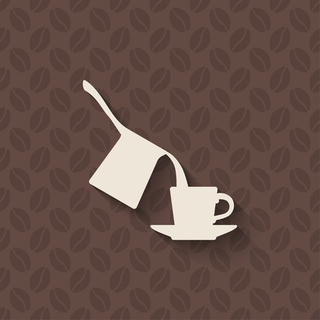 turk: coffee turk and cup on seamless background Illustration