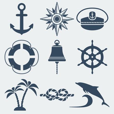 항해 해양 아이콘을 설정 일러스트