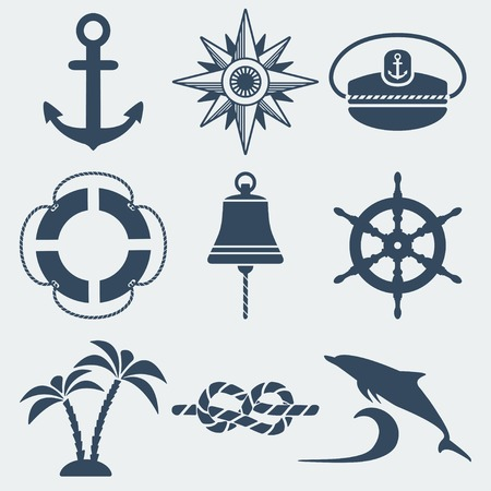nautical marine icons set Stok Fotoğraf - 29833883