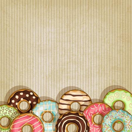 ドーナツとレトロな背景