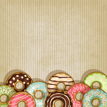 doughnut: retro background with donut