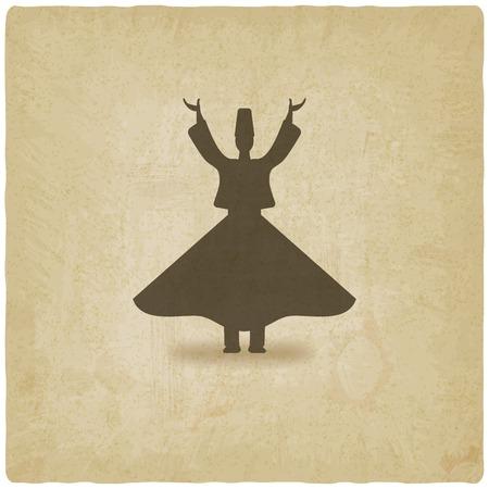 dervish dancer old background Vector