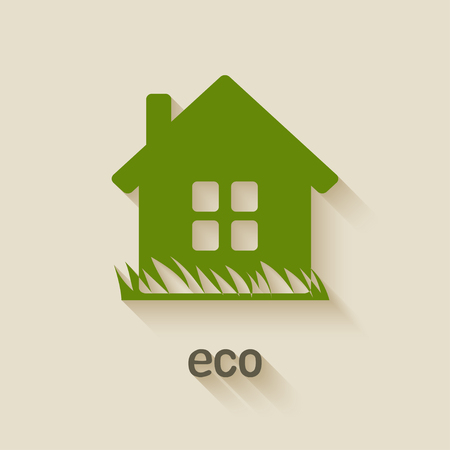 eco house: green house eco symbol