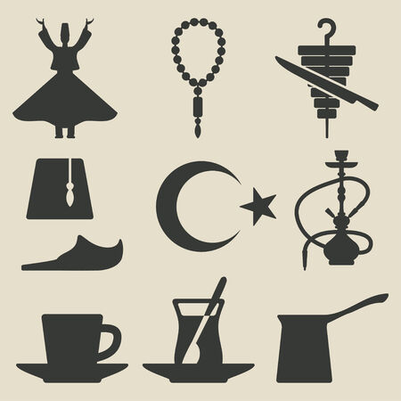 dancer silhouette: Turkish national icons set Illustration