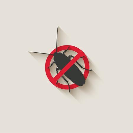 ゴキブリの警告サイン  イラスト・ベクター素材