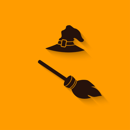 broom: halloween Witch hat and broom