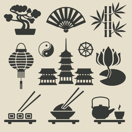 japanese temple: Asian icons set