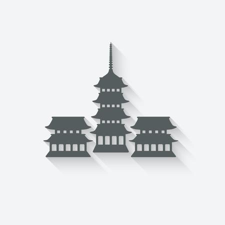 Buddhist temple design element Vector