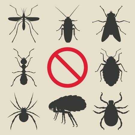 volar: insectos silueta establecen Vectores
