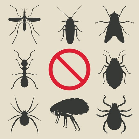 disease control: silhouette insects set