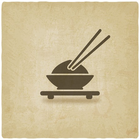 Asian food old background Vector