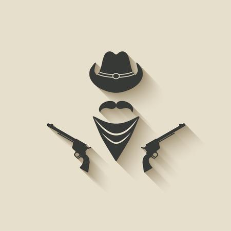 old cowboy: cowboy hat and gun