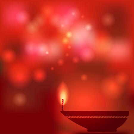 lit candles: oil lamp blurred background Illustration