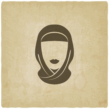 arab girl: Arabic woman avatar old background