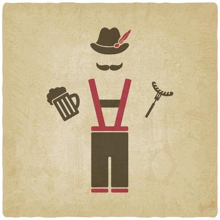 Oktoberfest man with beer mug and sausage
