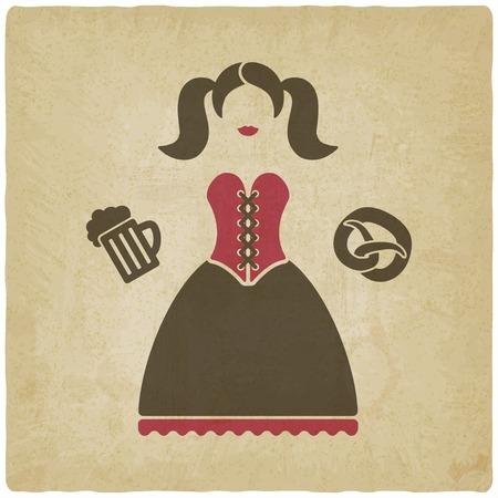 オクトーバーフェスト女の子ビール ジョッキとプレッツェル  イラスト・ベクター素材