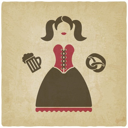 german tradition: Oktoberfest girl with beer mug and pretzel Illustration