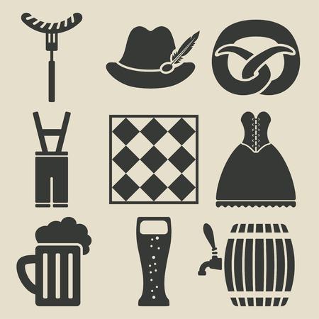 Oktoberfest beer festival icons set Vector