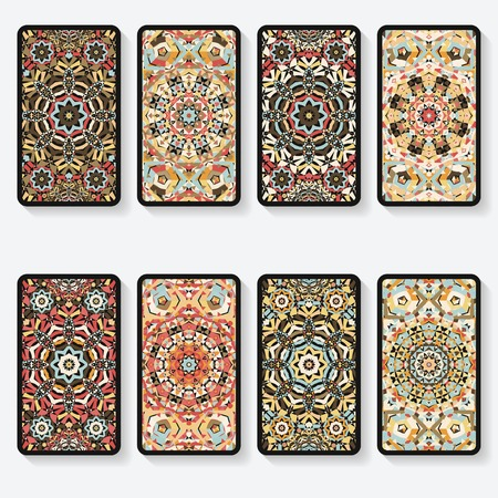 business cards collection with kaleidoscope pattern Illustration