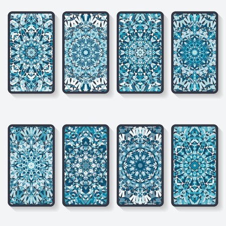 business cards collection with kaleidoscope pattern Vectores