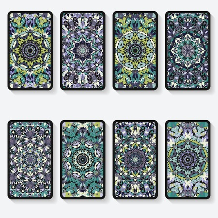 business cards collection with kaleidoscope pattern Vector