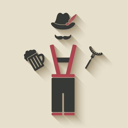 Oktoberfest man with beer mug and sausage Vector