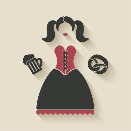 fest: Oktoberfest girl with beer mug and pretzel Illustration