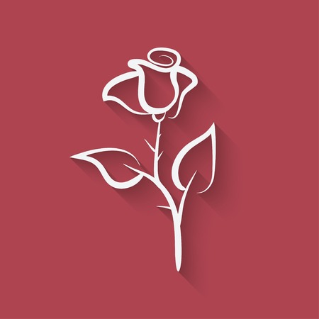 red rose black background: rose flower symbol Illustration
