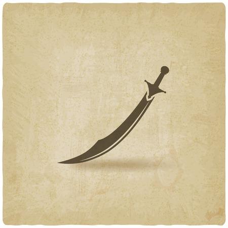 sabel: Arabische sabel kromzwaard oude achtergrond Stock Illustratie