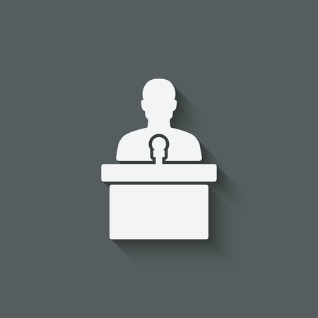 debate: man on podium with microphone - vector illustration. eps 10 Illustration