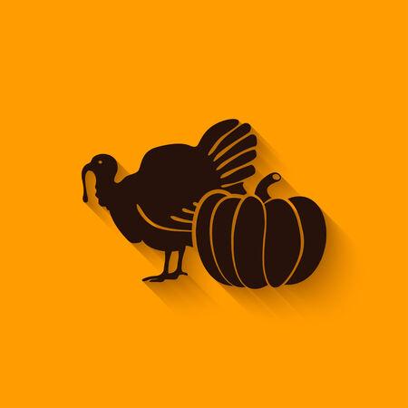 Thanksgiving symbols. turkey and pumpkin - vector illustration. eps 10 Vector