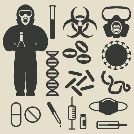 smallpox: epidemic protection and medical icons set - vector illustration. eps 8